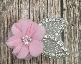 Baby pink hair clip, flower girl hair clip, rhinestone hair clip, flower hair clip, alligator clip, wedding clip