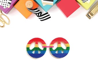 Set 2pcs. Colorful Rainbow Color Little Peace Sign New Sew / Iron On Patch Embroidered Applique Size 3.5cm.x3.5cm.
