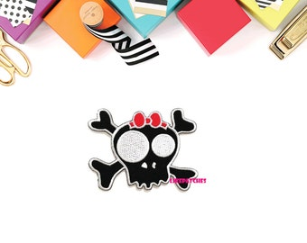 Skull Cross Bones Ghost Halloween Red Bow New Sew / Iron On Patch Embroidered Applique Size 9cm.x6.7cm.