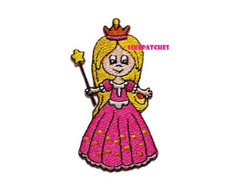 Pink Lady Angel Princess New Sew / Iron On Patch Embroidery Applique Size 4cm.x7.7cm.