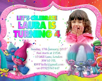 Trolls Downloadable Personalised/Customised Birthday Invitations or Thank you Cards printable, digital