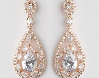 Rose Gold Bridal Earrings Wedding Jewelry CZ Bridal Earrings Drop Earrings Bridesmaid Gift Bridal Jewelry Rose Gold Earrings