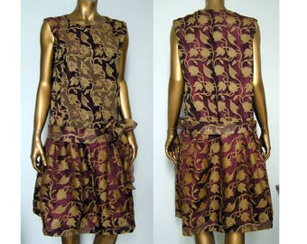 1920s Downton Abbey Flapper Miss Fisher wine and gold dress MED