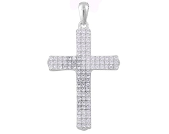 Simulated Pave Diamond Sterling Silver Cross Pendant Without Chain TGW 1.50 Cts.