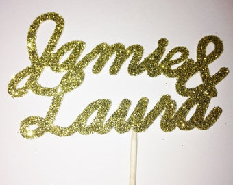 12 Custom Couple's Names Glitter Cupcake Toppers - Wedding, Engagement, Hen Party, Bachelorette, Valentines Day, Anniversary