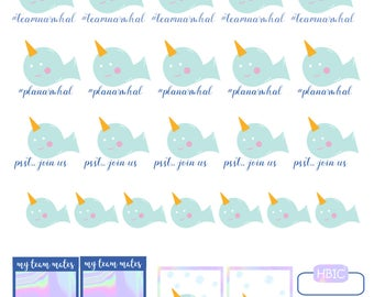 Team Narwhal- Printable Planner Stickers