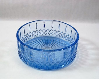 Vintage, Light Blue Pressed Glass Candy Dish with Star and Diamond Pattern, Indiana Glass Co. Collectible Blue Glass Trinket dish, Nut dish