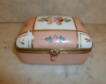 Antique French jewel pink porcelain box brass hand painted Birks Limoges France circa 1900
