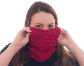 Chunky Knit Cowl, Chunky Red Infinity Scarf, Cherry Red - 063