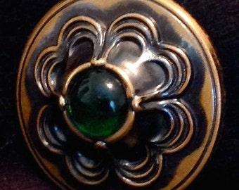 Antique Button Brass with Green Glass Jewel, LRG