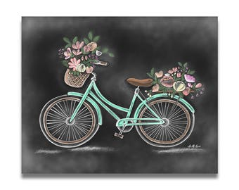 Vintage Bicycle - Chalk Print - Chalk Art- Chalkboard Art- Spring Decor - Spring Bicycle- Handdrawn