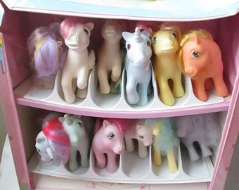 80s My Little Pony Case with 12 Ponies many pat pending