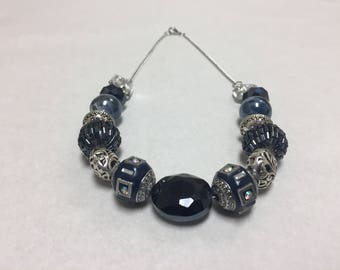 Navy blue and silver beaded necklace