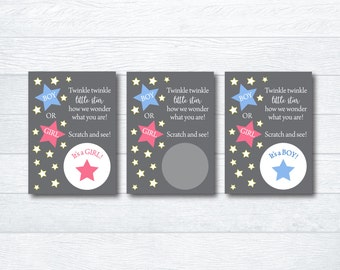 Baby Gender Reveal Scratch Off Cards / Twinkle Twinkl Little Star Gender Reveal Boy or Girl / It's a Boy! / It's a Girl! Scratch off Cards