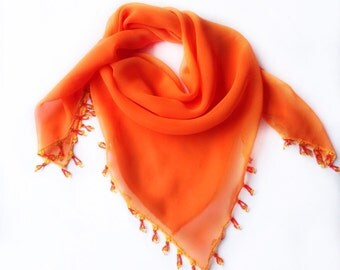 Bright Orange scarf, 29X29 Orange chiffon Scarf Beaded, Holiday Gift for Mother, Embellished Neckerchief Scarf, Fancy Shoulder Cover Up 40