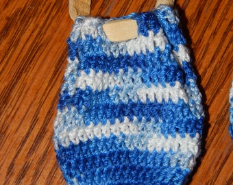 Crocheted Variegated Blue/White Medicine Bag, Necklace Pouch, w/Buckskin Leather Lacing/Drawstring for Men or Women