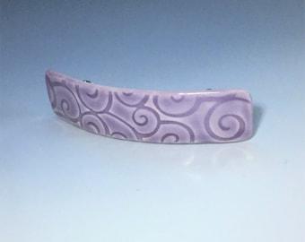 Large Purple Barrette, Porcelain Barrette, Ceramic Barrette, French Barrette, Lavender Ceramic Hair Clip, Swirl Pattern Hair Barrette