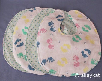 Infant Baby Bibs, Reversible, (little hands and feet), Set of 4