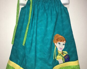 Girls Princess Anna Frozen Fever Boutique Birthday Party Pillowcase Summer Dress Girl Outfit! Cold Sisters Birthday Celebration