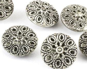 Vintage Silver Metal Filigree Button 13mm
