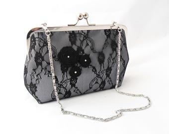 Satin and lace evening bag.