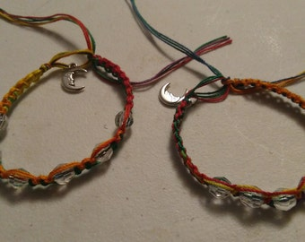 moon or skull rainbow rasta bracelet