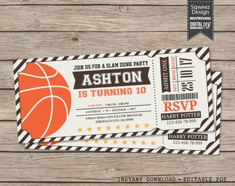 Basketball Ticket Invitation, Basketball Invitation, Basketball Birthday Invitation  - Instant Download Editable PDF