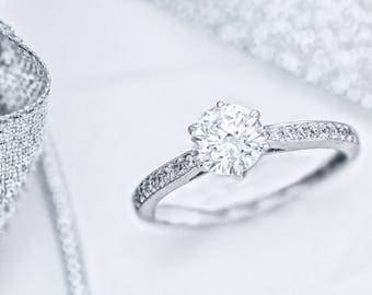 Diamond Engagement Ring 14K White Gold Diamond Engagement Ring Round Brilliant Cut  1.77 Carat  D/SI2 #J73185 FREE SHIPPING