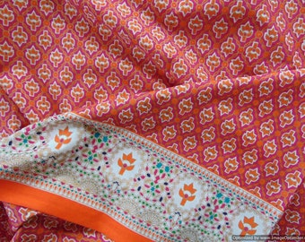 Indian Printed Cotton Fabric by Yard Indian Motif with Border for quilting and craft handicraft supplies