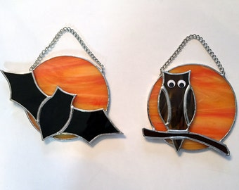 Handmade Stained Glass Full Moon with Owl or Bat