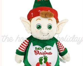 Baby's First Christmas Cubbie, Stuffed Elf, baby's christmas gift, cubbie, stuffed animal, stuffed elf