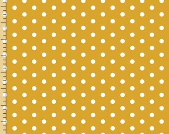 "Mustard Polka Dot Knit Fabric, Bolt by Girl Charlee, Pure Vintage, Cotton Spandex Knit, Yellow Knit Fabric, 58""-60"" Wide, PV-1004-B"