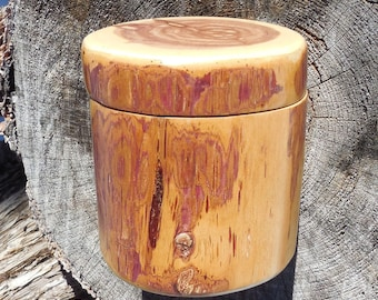 Tall Red Cedar Salt Cellar / Treasure Keeper with Magnetic Lid.  May be purchased alone or with Maldon Sea Salt.