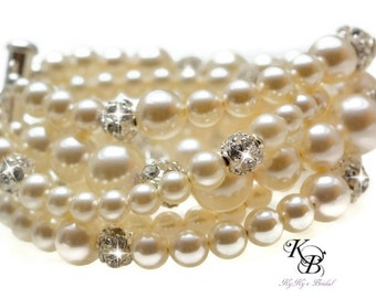 Pearl Cuff Bracelet Bridal Jewelry Multistrand Pearl Bracelet Bridal Bracelet Pearl Bridal Jewelry Swarovski Pearl Bracelet Wedding Jewelry