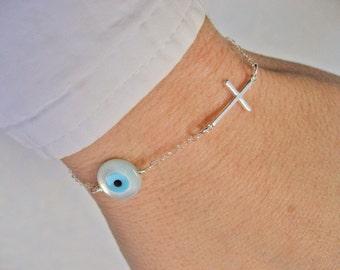 Sideways Cross Bracelet, MOP Evil Eye Bracelet, Sterling Silver, Side Cross Bracelet, Protection Bracelet, Christian Bracelet, Gift Under 30