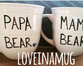 Papa Bear - Mama Bear - Couples Gift- Mug Set -Christmas Gift - Gift For Him- Gift For Her-Mug-Cup-Coffee Cup-Coffee Mug-Couples Mugs