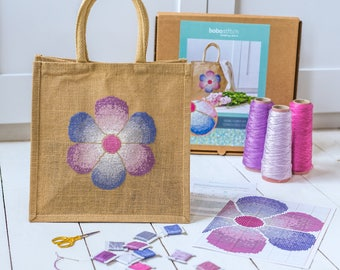 Modern cross stitch kit - Make your own bag sewing kit - Fading Flower