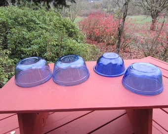 4 Vintage Anchor Hocking Blue Mixing Bowls Pyrex Blue Bowl