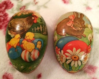 Large Vintage Paper Mache Easter Bunny Rabbit Rooster Chicks German Candy Holder Container Egg
