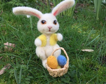 felt easter bunny rabbit with basket of felt eggs