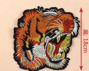 """Tiger patch tiger head patch animal patch applique deco applique-(shid)-18cmx17.5cm(7.08""""x6.88"""")"""