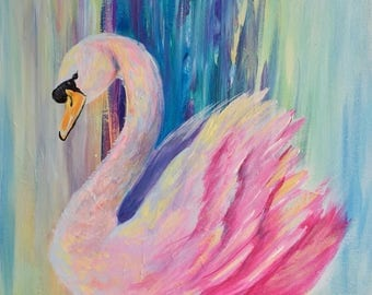Colorful Pink Swimming Swan Abstract Modern Painting