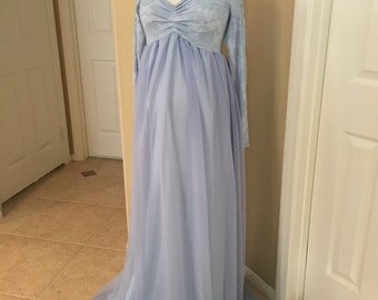 Full Lining Light blue Lace Chiffon Off shoulders long sleeves maternity gown, Long sleeves Maternity Dress, Baby shower dress