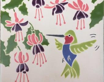 Hummingbird and Fuschia tile trivet
