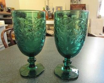 Vintage Princess House Fantasia Emerald Green Ice Tea Tumblers Set of 2