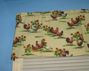 Chickens on Pale Yellow Background Cotton  Handmade  Window Curtain Valance