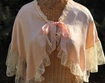 """ON SALE! Gorgeous 1940's Vintage Peach Silk and Lace Bed Jacket Lingerie by """"The J L Hudson Co - Negligee Shop"""""""