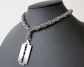 Stainless Steel Chainmail Razorblade Choker - Gothic, Industrial, Punk Collar / Necklace