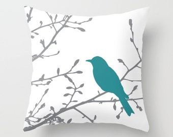Bird on Branch Pillow  - Teal Decor - Teal Pillow  - Bird Pillow  - Modern Home Decor - By Aldari Home