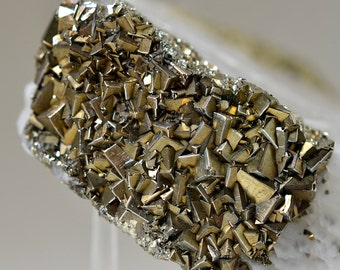 Amazing Lustrous Pyrite and White Calcite Mineral Specimen, from Hunan, China